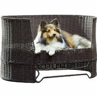 Amazon.com: The Refined Canine's Wicker Dog Day Bed with Outdoor Cushion: Pet Supplies