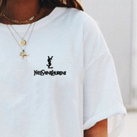 YSL Top Yves Saint Laurent Shirt Sides Embroidery Logo Women Men Tee Shirt Top B-AA-XDD Five Color-White