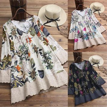 Boho Women 3/4 Sleeve V-neck Loose Linen Lace Crochet Mini Dress Ladies Floral Printed Beach Holiday Vestido Plus Size M-3XL