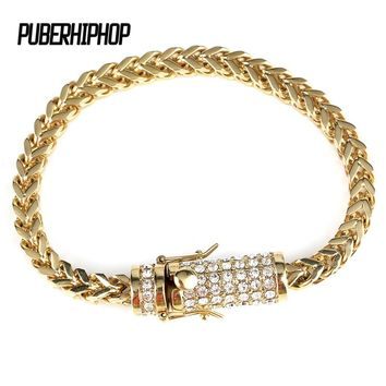 Men's Stainless Steel Gold Bracelet Iced Out Miami Cuban Link Bracelet Bling Hip Hop Jewelry For Men With Crystal Box Clasp