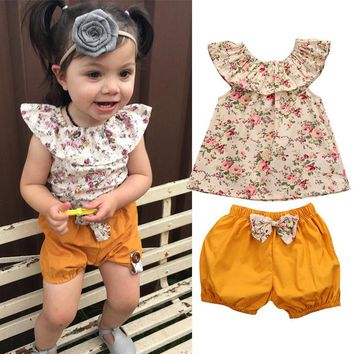 Girls Summer Floral Blouse and Mustard Bottoms 2 Piece Set