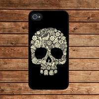 Floral Skull,Sugar skull--iphone 4 case,iphone 4s case  ,in plastic or silicone case