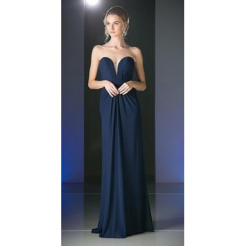 Strapless Sweetheart Chiffon Semi Formal Dress Navy Blue Long