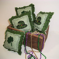 St. Patrick's Day, Primitive Bowl Fillers, Handmade, Irish Decor, Hat, Shamrock, Home Decor, Home and Living, Ornaments Accents, Primitive