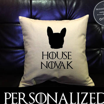Custom Personalized French Bulldog Pillow case, Game of Thrones Pillow cover Pillow Cover, The Office Dog Lover , cotton canvas pillow cover