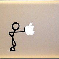 Macbook Stick Figure Leaning  Laptop Vinyl Decal Sticker | MakeItMineDesigns - Techcraft on ArtFire