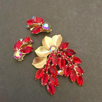Juliana Red Floral Demi Parure, Brooch & Earring Set, Red Marquis and Chaton with Red AB Rhinestones, Brushed Gold Tone Leaves, Vintage Set