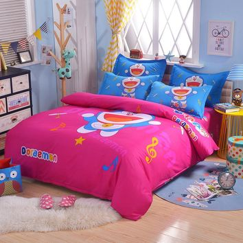 UNIKEA Cartoon Bedding Set for Child Girls Printed Duvet Cover Flat Sheet with Pillowcases Stars kt005