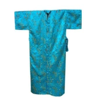 High Quality Blue Chinese Men Silk Robe Gown Vintage Dragon Kimono Yukata Sleepwear With Belt Size S M L XL XXL 3XL