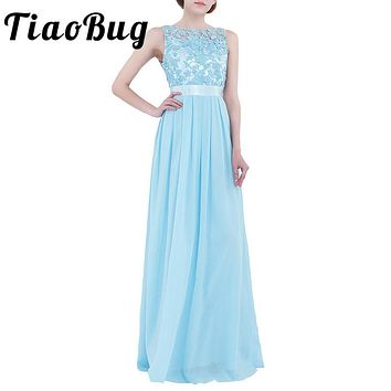TiaoBug 2017 Lace Women Ladies Sleveless Embroidered Chiffon Bridesmaid Dress Long Party Pageant Wedding Formal Summer Dresses