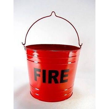 BIG Primitive Fire Bucket Trash Can FLAT BOTTOM RED PAIL Ashtray Cigarette Butts