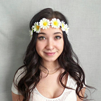 Daisy Flower Crown , White Flower headband, Coachella, EDC, Bohemian accessories, boho headband
