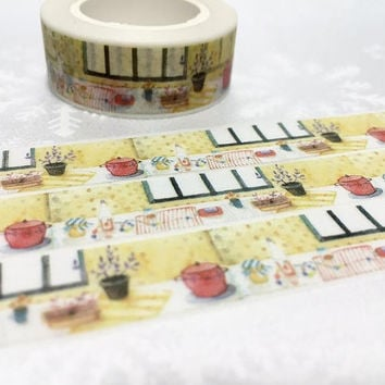 Family Kitchen washi tape 10M kitchen planner cooking planner sticker tape kitchen ware food party invitations diary scrapbook mother gift