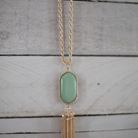 Set in Stone Necklace- Mint