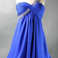 Custom A-line One-shoulder Sleeveless Short/Mini Chiffon Bridesmaid Dress With Beading Free Shipping