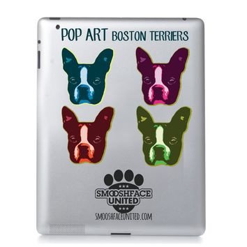 Pop art Boston Terrier decals - vinyl dog stickers - colorful Boston face silhouette - You CHOOSE color
