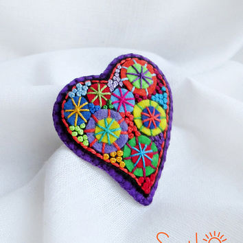 Happy heart. Purple Fireworks .Felt brooch. Valentine's Day gift. Hand embroidery. French knot. Gift for her. Holiday fireworks.