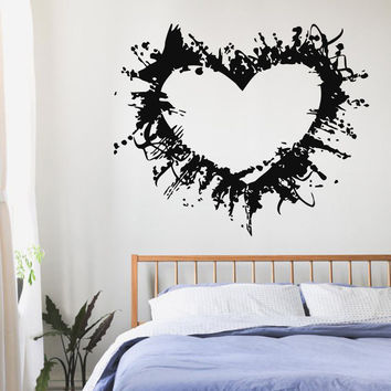 Wall Decals Vinyl Decal Sticker Valentines Art Love Decor Grunge Heart Kj633