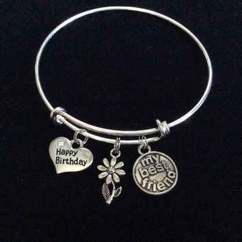 Happy Birthday My Best Friend Expandable Charm Bracelets Adjustable Bangle Trendy Gift Charm Bracelet