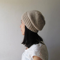 Sand Beige Slouchy Hat, Hand Knit Chunky Slouch Hat, Women Knit Hat, Wool Blend Hat, Seamless Winter Beanie, Gift for Her, Made to Order