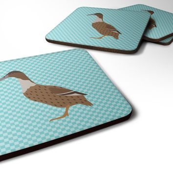 Dutch Hook Bill Duck Blue Check Foam Coaster Set of 4 BB8035FC