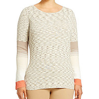 Jones New York Signature Plus Space-Dyed Sweater - Barley/Multi