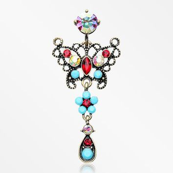 Vintage Boho Glistening Butterfly Flower Reverse Belly Button Ring