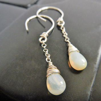 Genuine Mexican Fire Opal and Sterling Silver Dangle Earrings, Wire Wrapped Opal, Simple Earrings, October Birthstone, Opal Drop Earrings