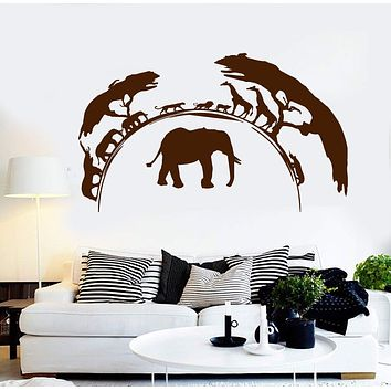 Vinyl Wall Decal African Nature Wild Animals Elephant Stickers Unique Gift (ig3835)