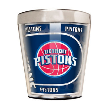 NBA Detroit Pistons 2 Ounce Acrylic and Stainless Steel Shot Glass with Metallic Graphics