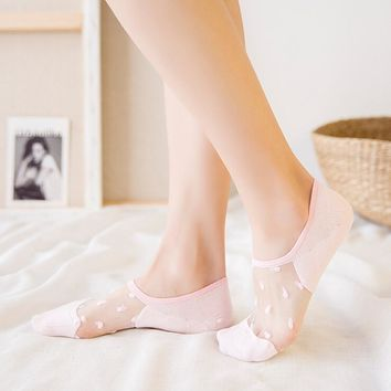 Women Lace Socks Crystal Glass Silk Knit Girl Transparent Mesh Thin Summer Invisible Ankle Sock 1 pair