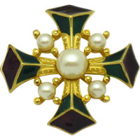 TRIFARI Enamel Faux Pearl Purple Green Maltese Cross Brooch