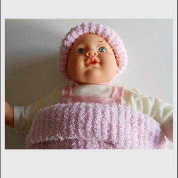 Knitted Infant Cocoon Pink with Hat