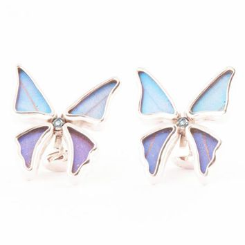Silver butterfly cufflinks with blue topaz birthstone - Iridescent Blue  Morpho Didius