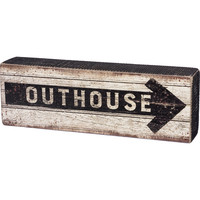 "Vintage ""Outhouse"" Box Sign - 9-in"
