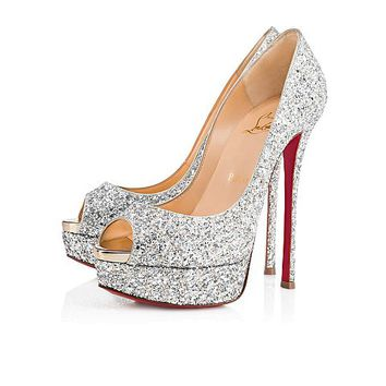Fetish Peep 150 Silver/Light Gold Glitter - Women Shoes - Christian Louboutin