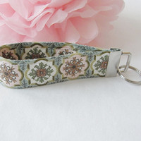 Ready To Ship Vintage Waverly Fabric Cotton Key Fob Wristlet Key Chain