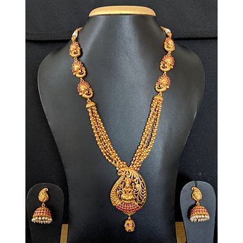 Traditional Goddess Lakshmi Pendant with gold bead chain necklace and jhumka earring set