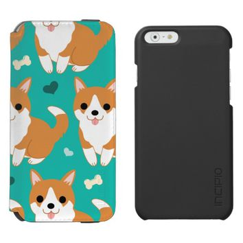 Kawaii Cute Corgi dog simple illustration pattern iPhone 6/6s Wallet Case