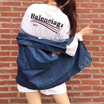 ONETOW balenciaga casual fashion letter print middle sleeve t shirt dress denim cardig