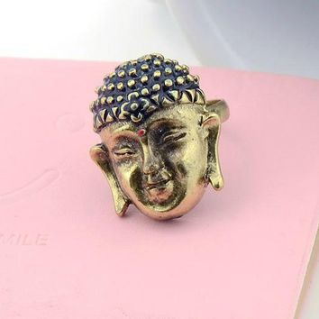 Buddha Head Ring in Brass