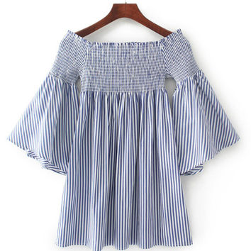 Blue Vertical Striped Boat Neckline Bell Sleeve Dress
