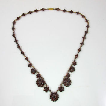 Antique Bohemian Garnet Necklace, Victorian Necklace, Antique 1800s Garnet Jewelry, January Birthstone