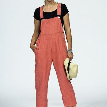 3911L cropped linen overalls