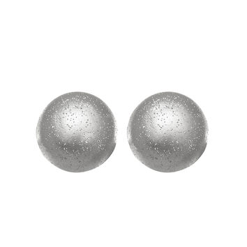 Sterling Silver Rhodium Plated With Brushed Diamond Dust Finish 10Mm Half Ball Button Stud Earrings