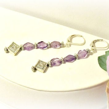 Amethyst Drop Earrings - Amethyst Dangle Earrings - Handcut Gemstones - Simple, Elegant