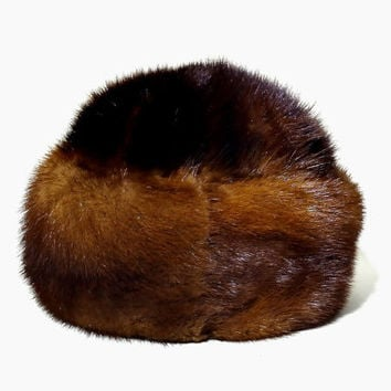 Vintage mink winter hat from the Soviet Union, tailormade, handmade (1960s)