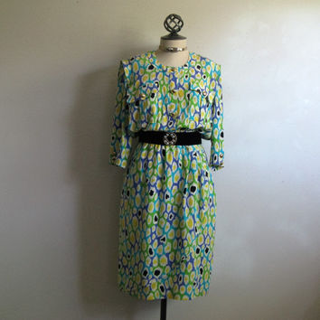 Vintage 1980s Silk Dress ESCADA Citrus Green Splotch Print Silk Margaretha Ley 80s Dress 40 US8