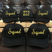 1 Main Betch 9 squad Bachelorette Bride bridesmaid Hat Wedding Hats, wedding, Bachelorette party Caps, Trucker Hat Set 14 colors option