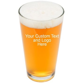 ANY TEXT, Custom Customized Engraved Pint Glasses for Beer, 16 oz Stein - Personalized Laser Engraved Text Customizable Gift
